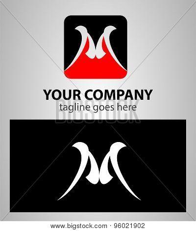 Abstract icon M logo vector design template