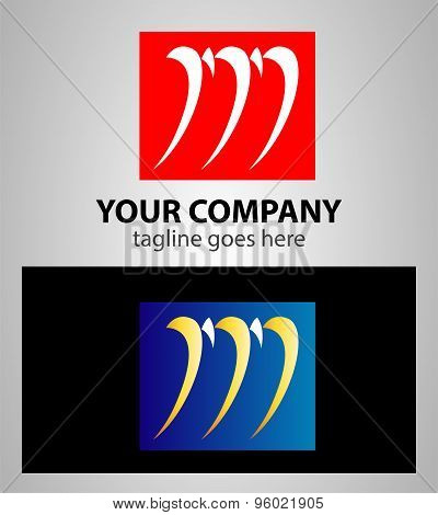 Letter M logo symbol design template elements with square icon
