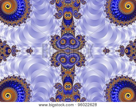Beautiful Background With Spiral Pattern. Blue And Silver Palette. Artwork For Creative Design, Art