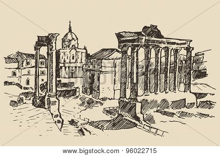 Roman Forum Ruins in Rome Landmark Italy
