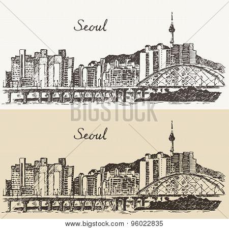 Seoul Special City South Korea vintage sketch