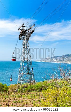 Cableway In Yalta, Which Follows The Beach. Crimea