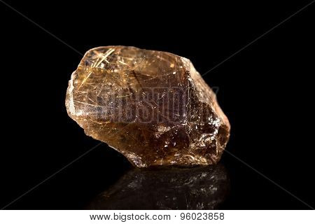 Quartz Crystal With Rutil, Black Background