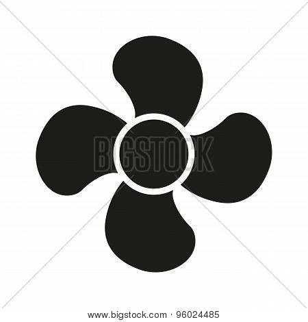 The fan icon. fan, ventilator, blower, propeller symbol. Flat
