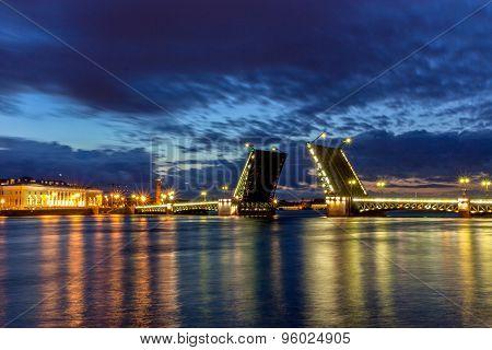 Neva River. Palace Bridge, Rostral Column, P
