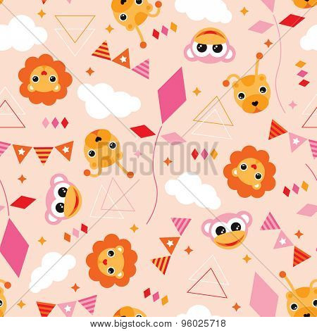 Seamless pink geometric circus lion monkey and kite illustration sweet birthday theme background pattern in vector