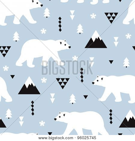 Seamless kids polar bear and geometric mountain arctic winter christmas wonderland illustration pattern in ice blue background in vector