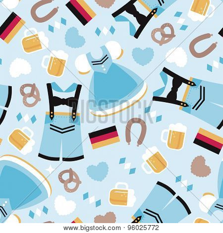 Seamless happy oktoberfest german tradition holiday beer festival munich icons illustration background pattern in vector