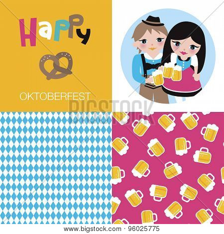 Happy oktoberfest german tradition holiday beer festival munich icons postcard cover design and illustration background pattern in vector