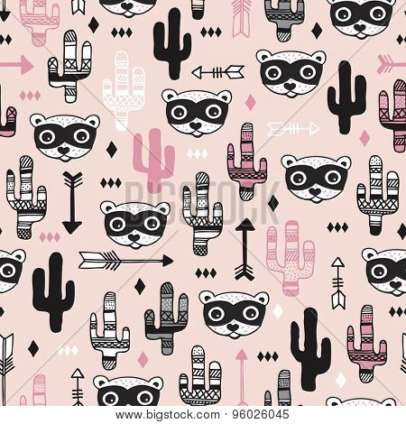 Seamless kids desert animal raccoon arrows and cactus garden girls pink illustration background pattern in vector