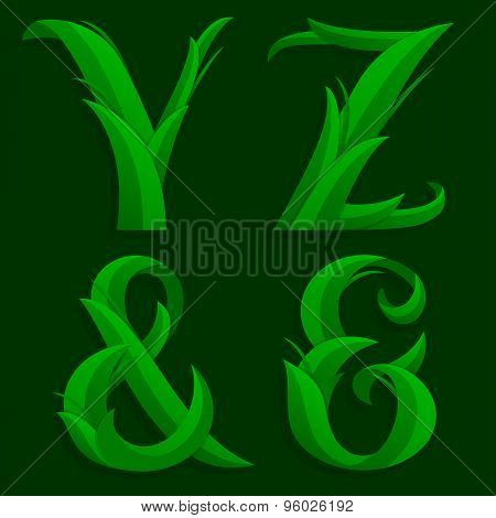 Decorative Grass Initial Letters Y, Z, &.