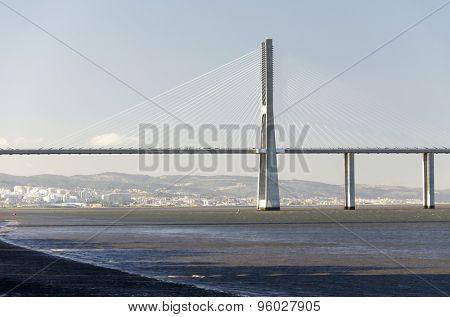 The Vasco da Gama Bridge in Lisbon, Portugal