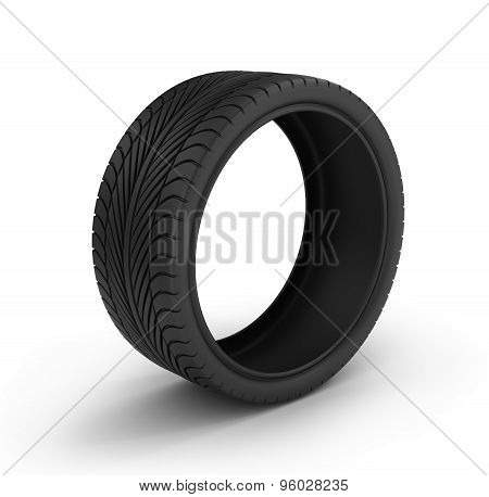 Ordinary car tire isolated on white background