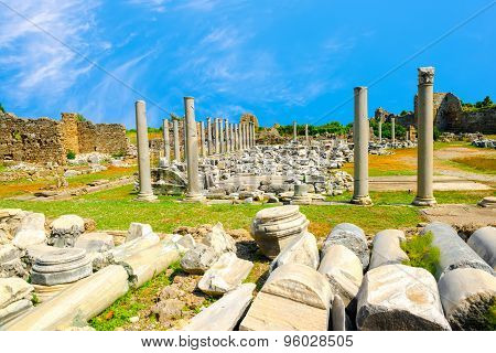 Ancient Monuments Tyche Temple Of Roman Empire, Side, Turkey , Travel Background