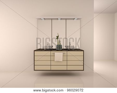 3D Illustration Of Interior Of A Bathroom With Double Sinks