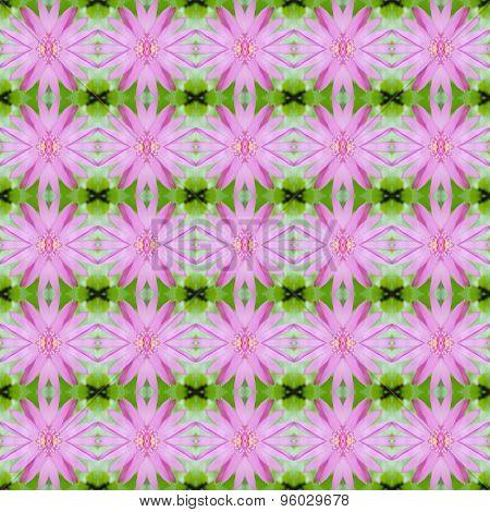 Pink Lotus Or Waterlily Seamless