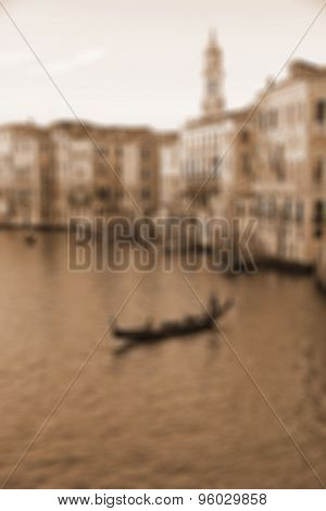 Venice, Italy. The Grand Canal From Rialto Bridge At Sunset. In Sepia Toned. Retro Style. In Blur St