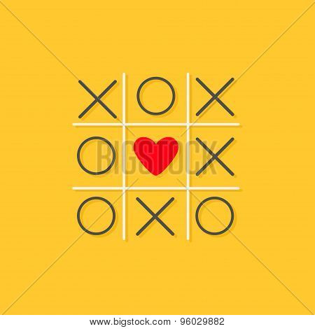 Tic Tac Toe Game With Cross And Red Heart Sign Mark In The Center Love Card Flat Design Yellow Backg