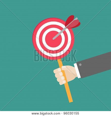 Businessman Hand Holding Paper Target With Arrow On The Stick Flat Design