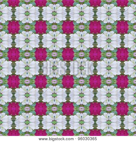White And Pink Bougainvillea With Leaves Abstract Background Seamless