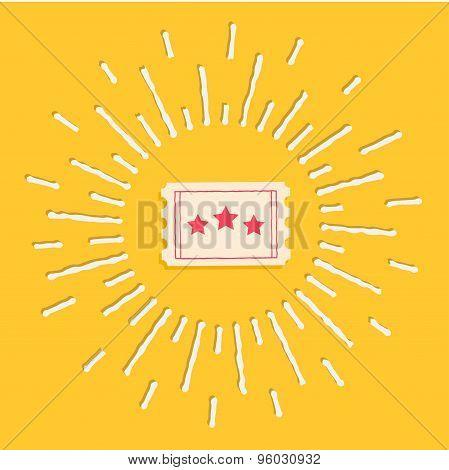 Big Ticket. Cinema Icon In Flat Design Style. Shining Effect Dash Line Circle