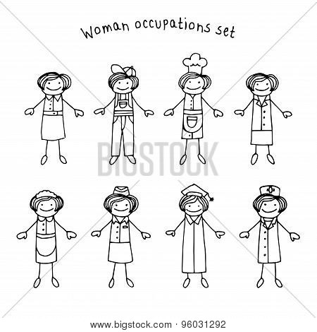 Woman Occupations Set