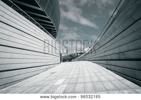 Modern building exterior and empty footpath floor