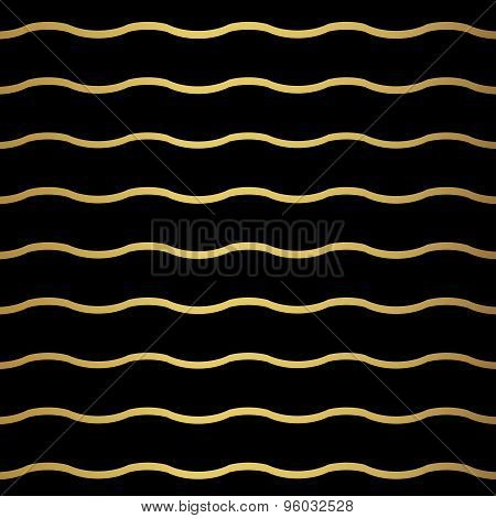Abstract wave geometric pattern. Monochrome black wallpaper. Geometry gold grid texture. Vector illu