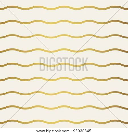 Abstract wave geometric pattern. Monochrome white wallpaper. Geometry gold grid texture. Vector illu
