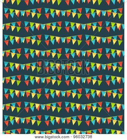 Seamless Bright Fun Celebration Festive Buntings Pattern Isolated On Blue