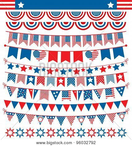 Usa Celebration Buntings Garlands Flags Flat National Set For Independence Day Isolated On White