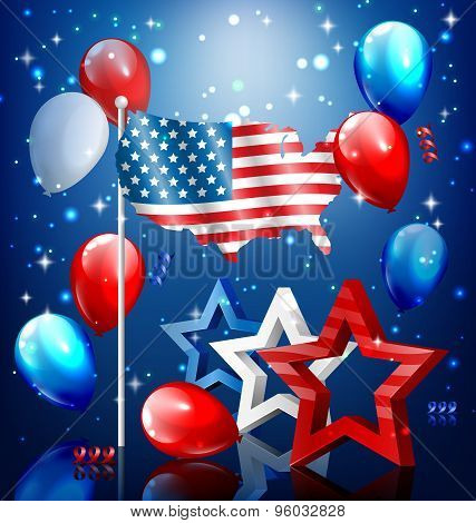 Shiny Usa Celebration Independence Day Concept With Nation Flag Map Stars And Balloons On Blue