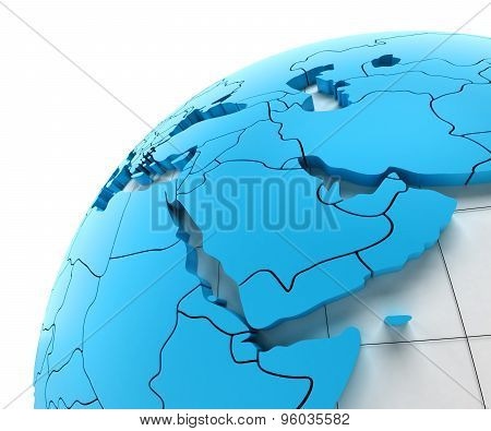Globe of Middle east with national borders