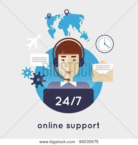 Online support around the clock flat style vector illustration.