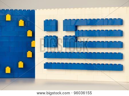 Sofia, Bulgaria - July 15, 2015: toy blocks forming national flag of Greece and European union sign