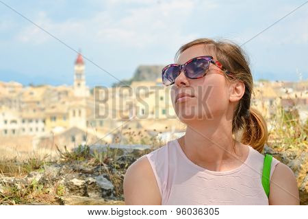 Girls Portrait With Kerkyra Town Panorama In Background