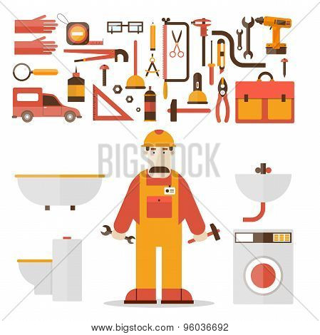 Plumber and a set of icons in a flat style vector illustration.