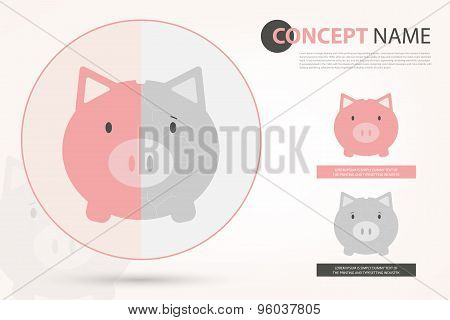 Piggy Bank In Vector Style (eps10)