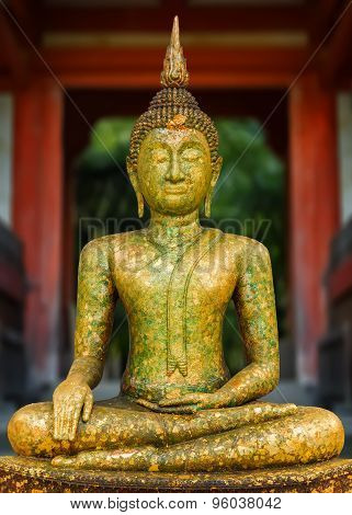 Thai Buddha Statue with plated gold leaf