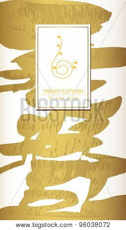 Abstratc gold invitation template or gift cards. Texture of gold foil. Luxury vector illustration. S