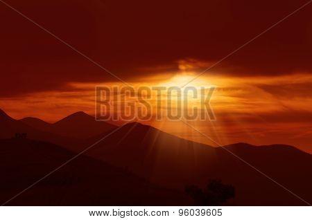 Dramatic golden sunset