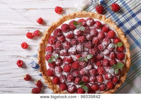 Fresh Raspberry Tart With Cream Cheese Closeup. Horizontal Top View