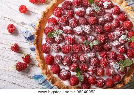 Homemade Raspberry Tart With Cream Close-up. Horizontal Top View