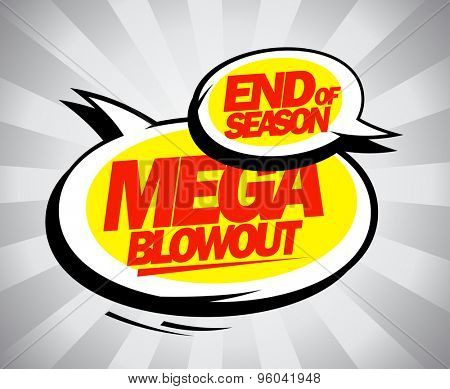 End of season mega blowout balloons in pop-art style.