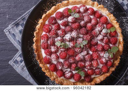 Gourmet Raspberry Tart With Whipped Cream Close-up. Horizontal Top View