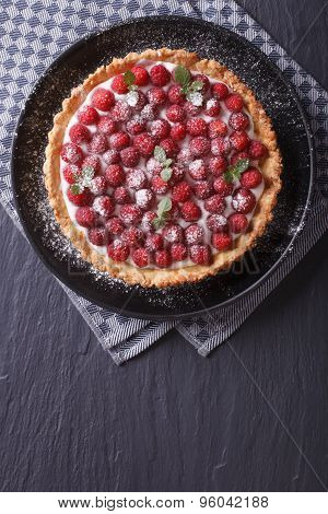 Delicious Raspberry Tart With Cream And Mint Vertical Top View