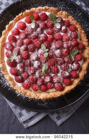 Delicious Raspberry Tart With Whipped Cream Vertical Top View Closeup