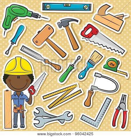 African-american Carpenter With Tools
