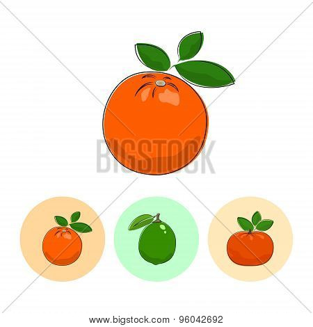 Fruit Icons, Orange, Lime , Mandarin