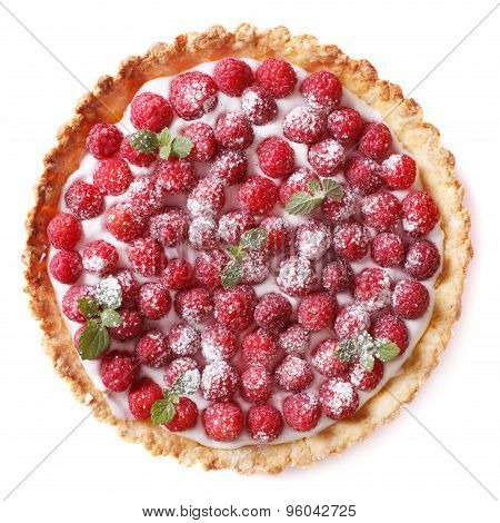 Tart With Fresh Raspberries And Mint Close-up Isolated On White